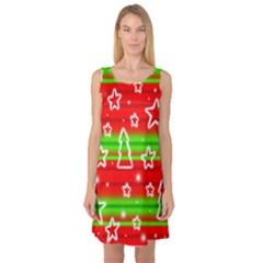 Christmas pattern Sleeveless Satin Nightdress