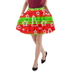 Christmas pattern A-Line Pocket Skirt
