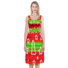 Christmas pattern Midi Sleeveless Dress