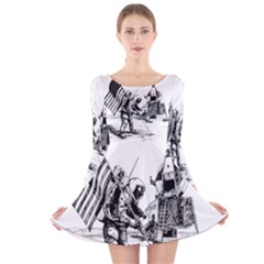 Apollo Moon Landing Nasa Usa Long Sleeve Velvet Skater Dress