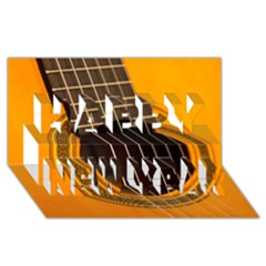 Vintage Guitar Acustic Happy New Year 3d Greeting Card (8x4)