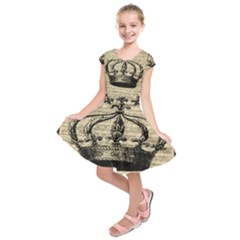 Vintage Music Sheet Crown Song Kids  Short Sleeve Dress