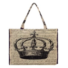 Vintage Music Sheet Crown Song Medium Tote Bag