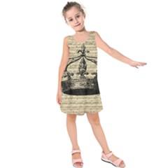 Vintage Music Sheet Crown Song Kids  Sleeveless Dress