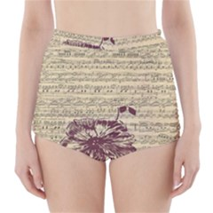 Vintage Music Sheet Song Musical High Waisted Bikini Bottoms