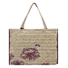 Vintage Music Sheet Song Musical Medium Tote Bag