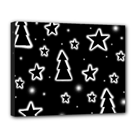 Black and white Xmas Canvas 14  x 11