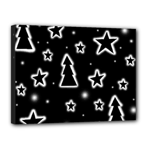 Black and white Xmas Canvas 16  x 12