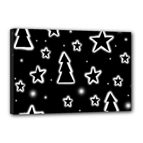 Black and white Xmas Canvas 18  x 12