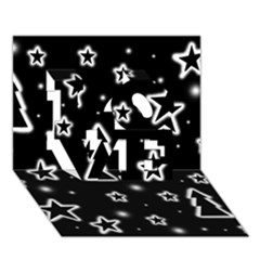 Black And White Xmas Love 3d Greeting Card (7x5)