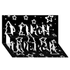 Black and white Xmas Laugh Live Love 3D Greeting Card (8x4)