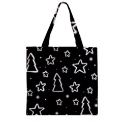 Black and white Xmas Zipper Grocery Tote Bag
