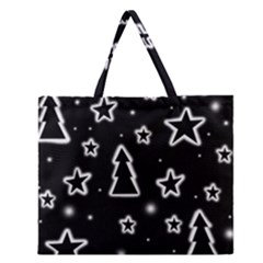 Black and white Xmas Zipper Large Tote Bag