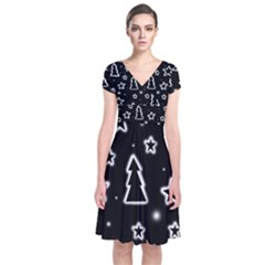 Black And White Xmas Short Sleeve Front Wrap Dress