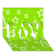 Green Christmas BOY 3D Greeting Card (7x5)