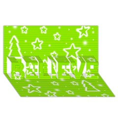 Green Christmas BELIEVE 3D Greeting Card (8x4)
