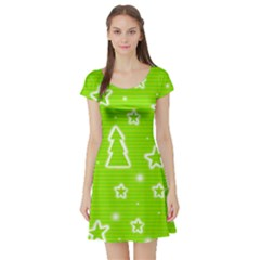 Green Christmas Short Sleeve Skater Dress