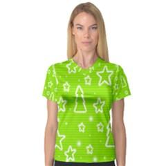 Green Christmas Women s V-Neck Sport Mesh Tee