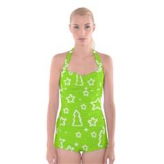 Green Christmas Boyleg Halter Swimsuit
