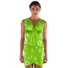 Green Christmas Wrap Front Bodycon Dress