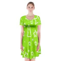 Green Christmas Short Sleeve V Neck Flare Dress