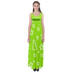 Green Christmas Empire Waist Maxi Dress