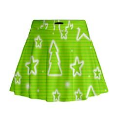 Green Christmas Mini Flare Skirt