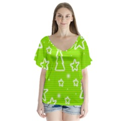 Green Christmas Flutter Sleeve Top