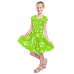 Green Christmas Kids  Short Sleeve Dress
