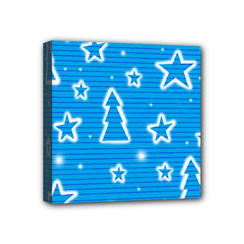 Blue decorative Xmas design Mini Canvas 4  x 4