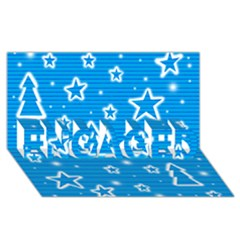 Blue decorative Xmas design ENGAGED 3D Greeting Card (8x4)