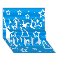 Blue decorative Xmas design Get Well 3D Greeting Card (7x5)