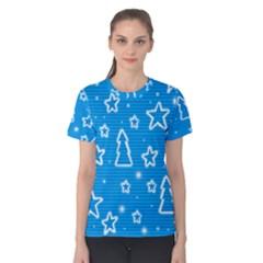 Blue decorative Xmas design Women s Cotton Tee