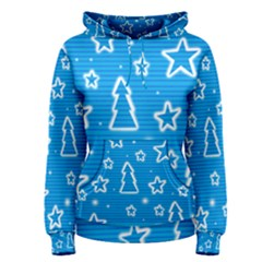 Blue decorative Xmas design Women s Pullover Hoodie
