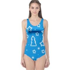 Blue decorative Xmas design One Piece Swimsuit
