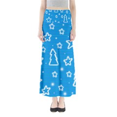 Blue decorative Xmas design Maxi Skirts