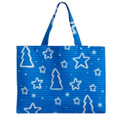 Blue Decorative Xmas Design Medium Tote Bag