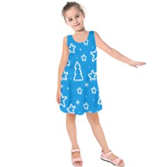 Blue decorative Xmas design Kids  Sleeveless Dress