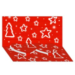 Red Xmas Twin Heart Bottom 3D Greeting Card (8x4)