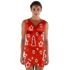 Red Xmas Wrap Front Bodycon Dress