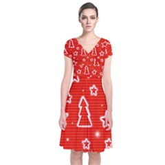 Red Xmas Short Sleeve Front Wrap Dress