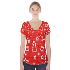 Red Xmas Short Sleeve Front Detail Top