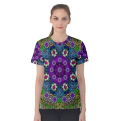 Colors And Flowers In A Mandala Women s Cotton Tee
