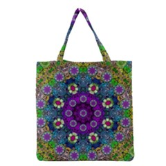 Colors And Flowers In A Mandala Grocery Tote Bag