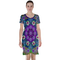 Colors And Flowers In A Mandala Short Sleeve Nightdress