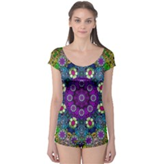 Colors And Flowers In A Mandala Boyleg Leotard