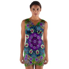 Colors And Flowers In A Mandala Wrap Front Bodycon Dress