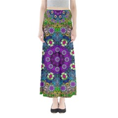 Colors And Flowers In A Mandala Maxi Skirts