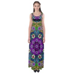 Colors And Flowers In A Mandala Empire Waist Maxi Dress