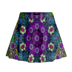 Colors And Flowers In A Mandala Mini Flare Skirt
